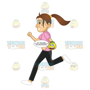 Woman Running To Workout