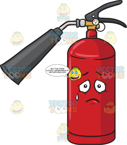 Fire Extinguisher Expressing Sadness With A Tear Emoji