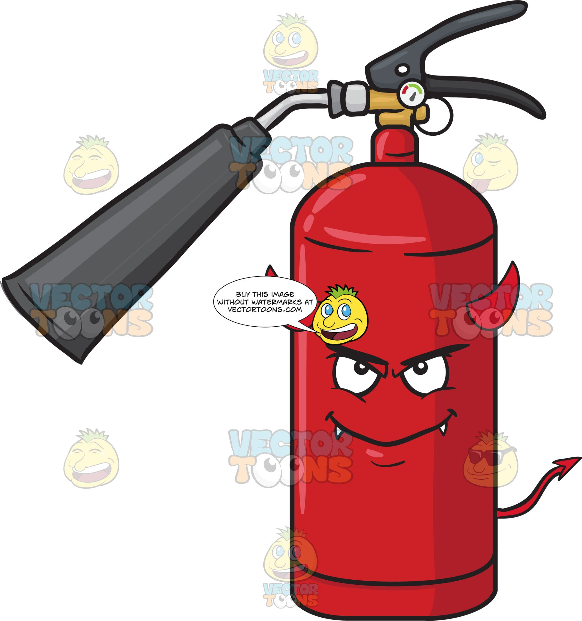 Fire Extinguisher Smiling Mischievously With Fangs Horns And Tail Emoji