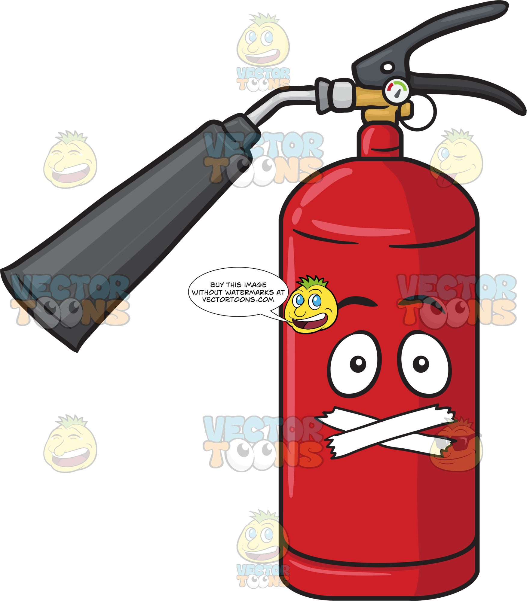 Fire Extinguisher With Taped Mouth Emoji