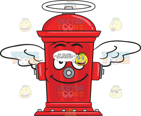Fire Hydrant Smiling With Wings And Halo Emoji