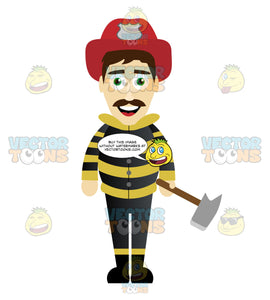 Fireman In A Black And Yellow Striped Jacked Holding An Axe