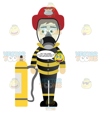 Fireman Standing Next To An Oxygen Tank And Wearing An Oxygen Mask