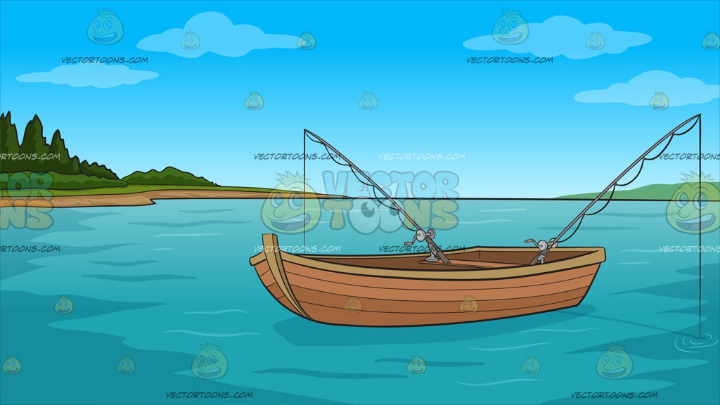 Fishing Boat On The Lake Background - Clipart Cartoons By ...