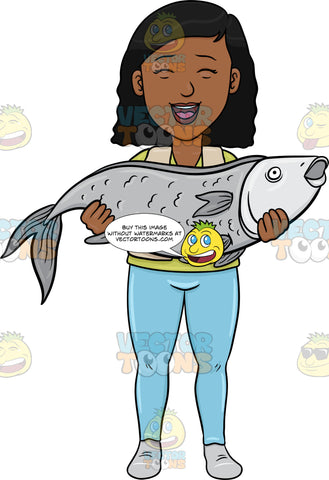 A Black Woman Proudly Carries Her Big Catch Of The Day