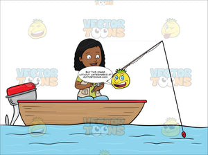 A Black Woman Enjoys Her Time In A Motor Boat While Fishing On The Lake