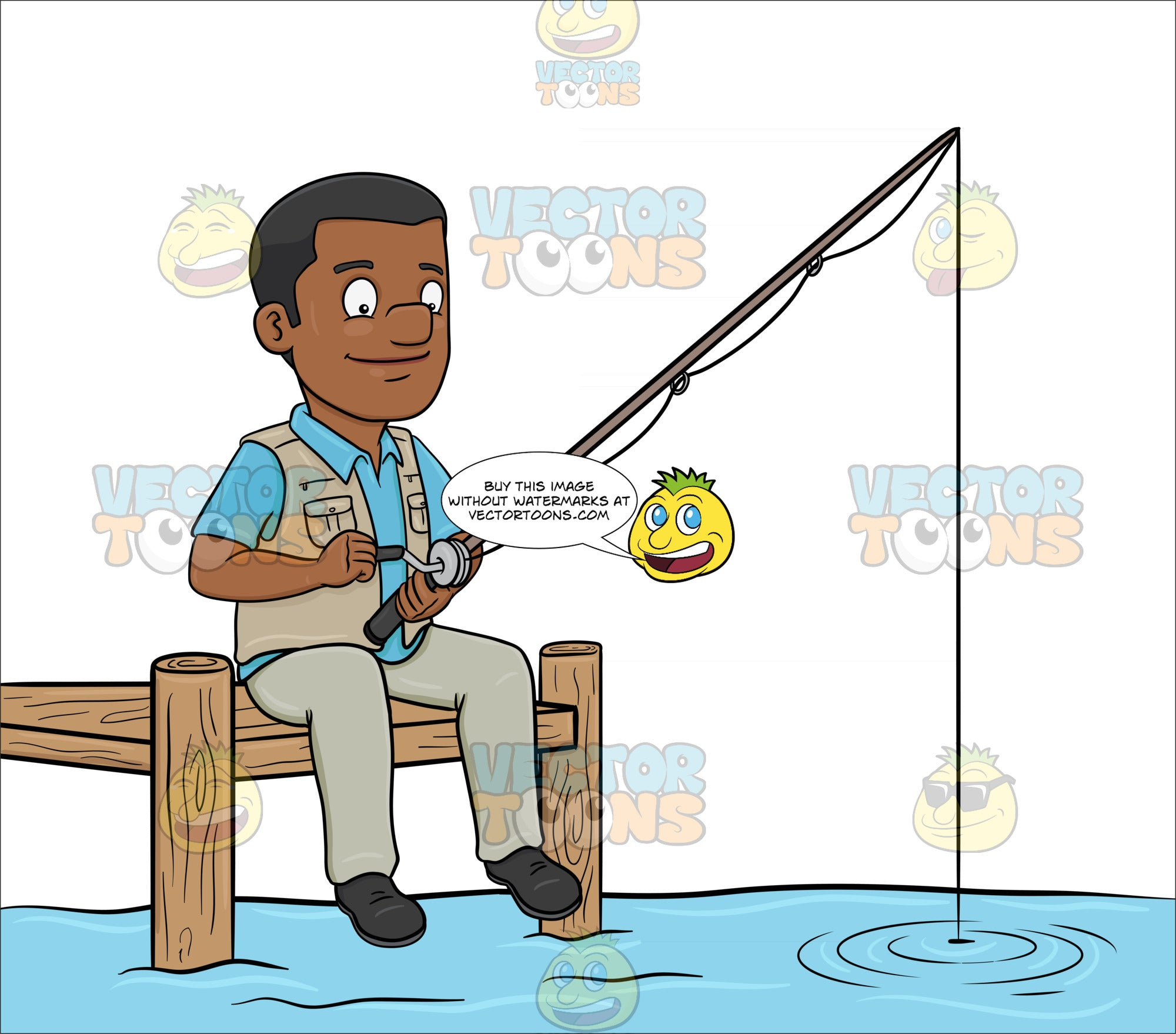 A Black Man Patiently Waiting To Catch A Fish Clipart Cartoons By Vectortoons