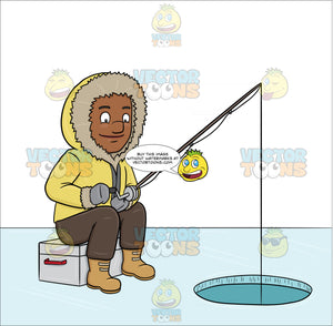 A Black Man Ice Fishing On A Frozen Lake
