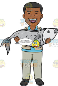 A Black Man Proudly Carries His Big Catch Of The Day