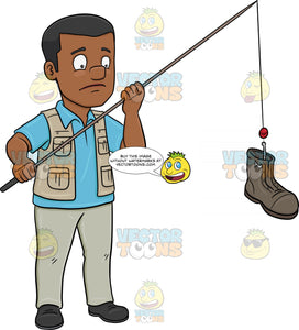 A Black Man Catching A Discarded Boot With A Rod Clipart Cartoons