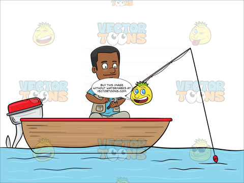 A Black Man Enjoys His Time In A Motor Boat While Fishing On The Lake