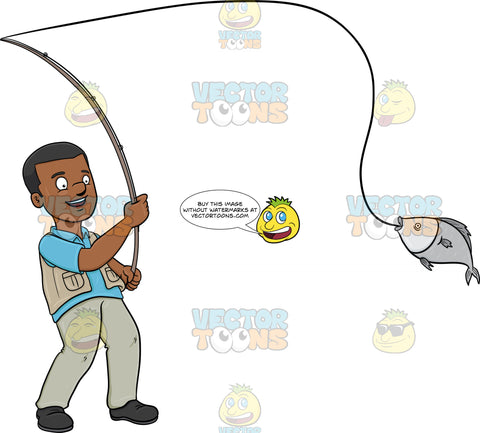 A Black Man Delightfully Catches A Fish With A Rod