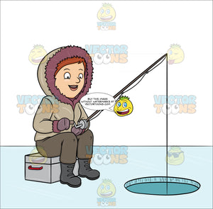 A Woman Ice Fishing On A Frozen Lake