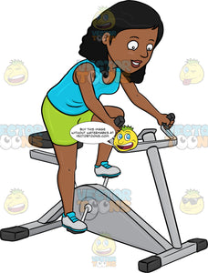 A Dark Haired Woman Enjoys Riding A Stationary Bike