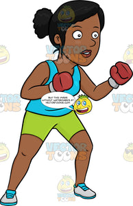 A Dark Haired Woman Boxing Her Way To Fitness