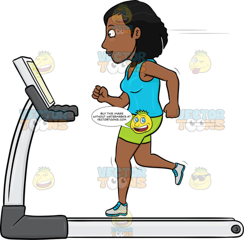 Dark Haired Woman On A Treadmill