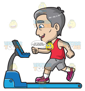 A Mature Man Walking On A Treadmill