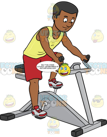 A Dark Haired Man Enjoys Riding A Stationary Bike