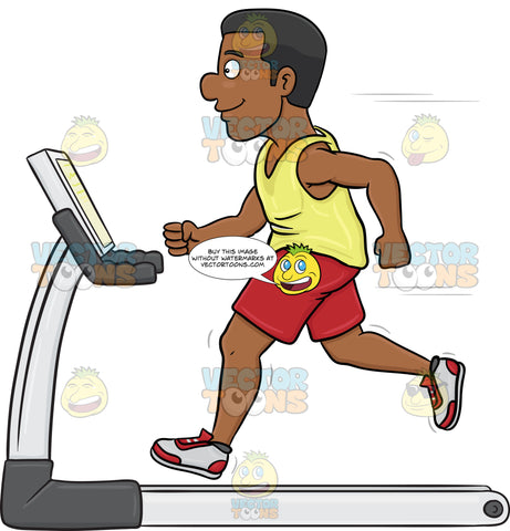 A Dark Haired Man On A Treadmill