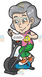 A Mature Woman Riding An Elliptical Trainer