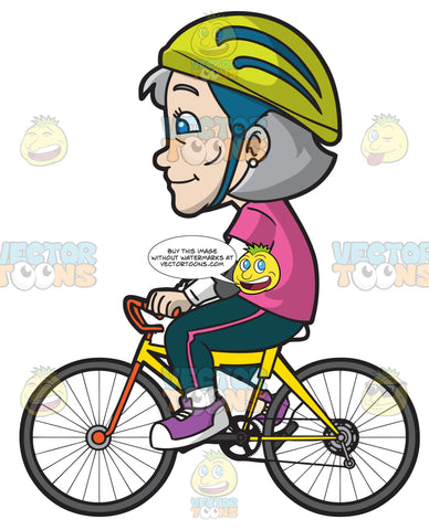 A Mature Woman Riding A Bicycle