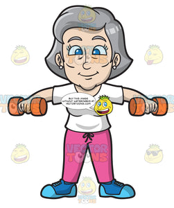 A Mature Woman Lifting Dumbbells