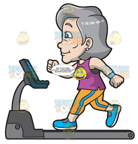 A Mature Woman On A Treadmill