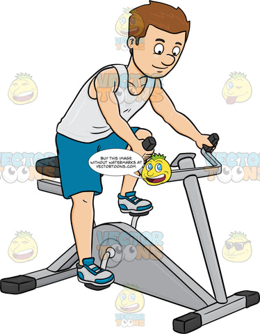 A Man Enjoys Riding A Stationary Bike