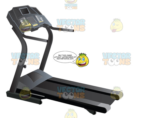 Black Treadmill With Hand Rails