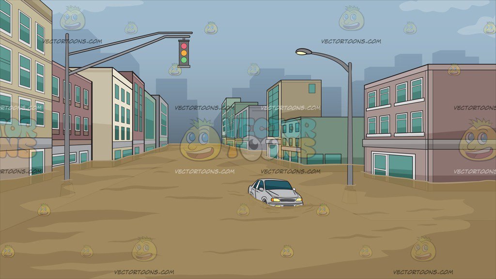 Flooded City Street Background