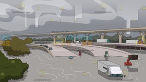 Flooded Interchange Ramp Background