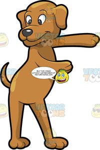 A Dog Dancing The Floss. A dog with brown coat and droopy ears, dark gray nose, smiles while dancing the floss