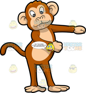 A Monkey Dancing The Floss. A monkey with brown and beige coat, round ears, long tail, smiles while dancing the floss