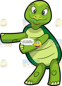 A Turtle Dancing The Floss. A green turtle with a dark green shell, smiles while dancing the floss