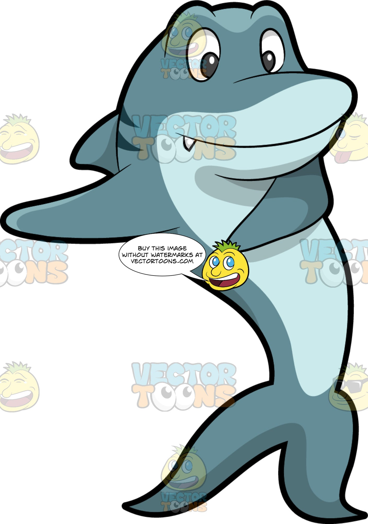 A Shark Dancing The Floss. A bluish gray shark with stripes at its back, moving its fins and smiles while dancing the floss