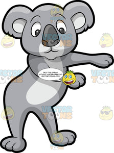 A Koala Bear Dancing The Floss. A koala bear with gray fur, smiles while dancing the floss