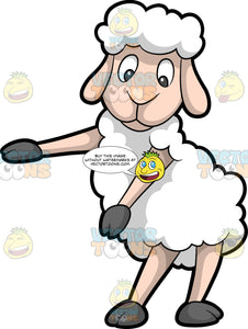 A Sheep Dancing The Floss. A sheep with white wool, flesh tone skin and legs, dark gray hooves, smiles while dancing the floss