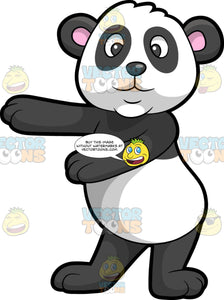 A Panda Dancing The Floss. A panda bear with black and white fur, round pink inner ears, smiles while swinging its front legs to dance the floss