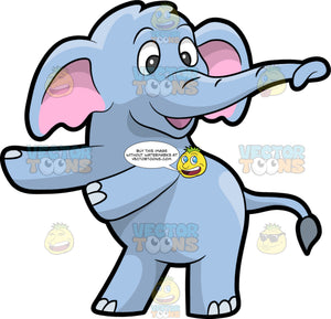 An Elephant Dancing The Floss. An elephant with a grayish blue skin, hooves, big pink inner ears, long trunk, smiles while swinging its front legs to dance the floss