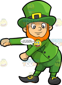A Leprechaun Dancing The Floss. A man with an orange hair and beard, wearing a green suit, socks, hat with black belt and gold buckle, shoes, smiles while swinging his arms to dance the floss