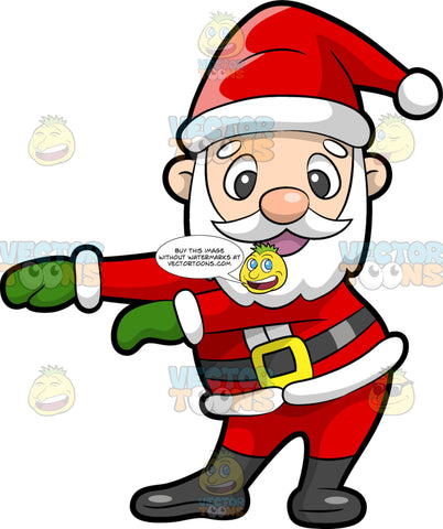 Santa Claus Dancing The Floss. A man with a white beard, mustache, eyebrows, wearing a red and white winter hat, jacket, pants, black belt with gold buckle, black boots, green gloves, smiles while swinging his arms to dance the floss