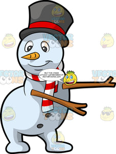 A Snowman Dancing The Floss. A white snowman wearing a black and red top hat, striped white and red scarf, with a carrot nose, black buttons, smiles while moving its wooden arms to dance the floss