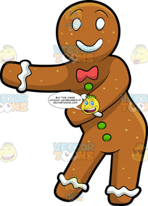 A Gingerbread Man Dancing The Floss. A gingerbread man with white eyes, lips, cuffs, red bow tie, green gum drop buttons, smiles while moving its arms to dance the floss