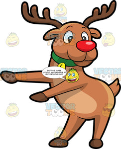 Rudolph The Red Nosed Reindeer Dancing The Floss. A reindeer with brown antlers, red nose, wearing a green collar with a golden bell, smiles while moving its front legs to dance the floss