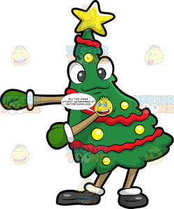 A Christmas Tree Dancing The Floss. A green Christmas tree with red ribbons wrapped around it, yellow balls, and a a star on top, wearing a pair of green gloves, black shoes, smiles while moving its arms to dance the floss