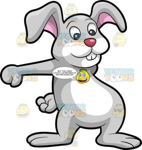 The Easter Bunny Dancing The Floss. A rabbit with gray and white fur, tall pink ears, pink nose, smiles while moving its arms to dance the floss
