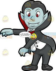 A Vampire Dancing The Floss. A male vampire with black hair, light blue skin, fangs, red eyes, wearing a black tuxedo suit with a tall collar, red bow tie, black shoes, smiles while moving its arms to dance the floss