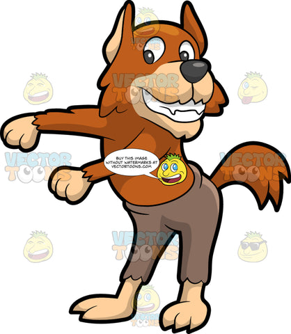 A Werewolf Dancing The Floss. A werewolf with brown fur and fangs, wearing a ripped light brown pants, smiles while moving its arms to dance the floss