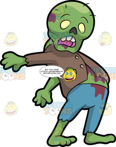 A Zombie Dancing The Floss. A green zombie with bald head, blood stained skin, yellow eyes, hollow nose, wearing a brown jacket, ripped teal pants, swinging its arms to dance the floss