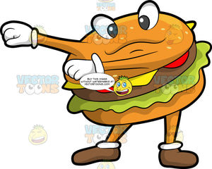 A Cheeseburger Dancing The Floss. A cheeseburger with a beef patty, lettuce, tomato, cheese, brownish bun with eyes, arms, legs, wearing white gloves, and brown shoes, smiles while dancing the floss